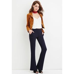 Navy Textured Stretch Flare Work Pants